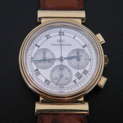 IWC SCHAFFHAUSEN 18K Yellow Gold 3739 Authentic SWISS Chronograph Wrist Watch