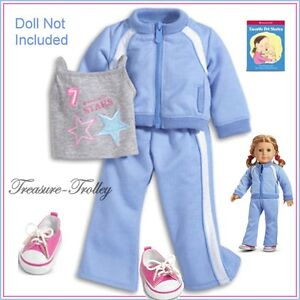 NIB American Girl Jogging Track Yoga Outfit Book 7-piece Retired Set FREE SHIP