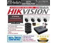HikVision HiWatch 4 Cameras Turbo-HD Full CCTV Kit: 4CH 500GB DVR & 4x Full HD 1080P 2MP Dome Camera