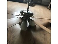 Ceiling fan light, in full working order, blades can be switched to either wood or white.