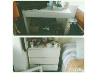 OPEN TO OFFERS! 2 x Ikea White Furniture - Desk and Chest of 3 Draws
