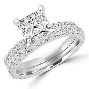ENSEMBLE BAGUE DE MARIAGE AVEC DIAMANT PRINCESSE 1.25 CARAT TOTAL / PRINCESS CUT DIAMOND WEDDING SET 1.25 CTW