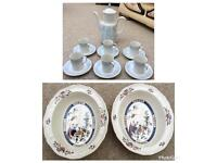 Royal Doulton Coffee Set and Two Wedgwood Bowls Fine Bone China
