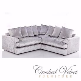 New Jamba Crushed Velvet Corner Sofa for £359 dual arm xprs delivery 3 & 2 for £319 furniture