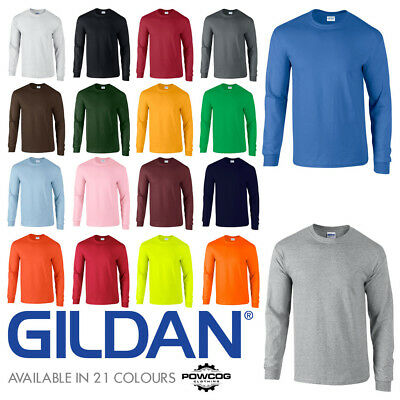 GILDAN MENS Classic Fit Long Sleeve Plain Ultra Cotton T Shirt Top | 21 COLOURS