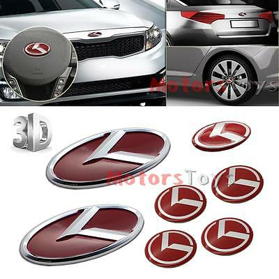 7pcs Red K Speed Emblem Badge Set (Grille Trunk Steering Wheel 4 Rim) For Kia K5 for sale  Shipping to Canada