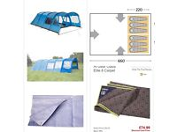 Family tent 6+ berth, extra porch,carpets, used once