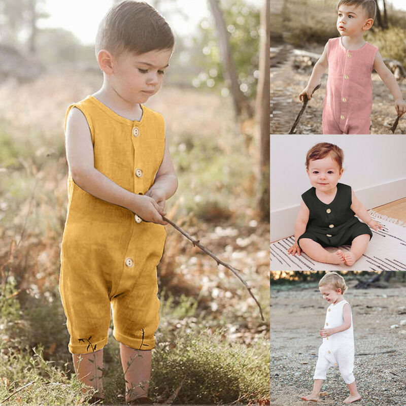 Summer Infant Baby Boys&Girls Sleeveless Ruffles Solid Romper Jumpsuit Clothes