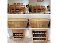 Large Dinning Table & 8 Chairs, Large Sideboard & Wine Rack