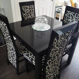 Quality ZONE by G PLAN Black Gloss Extending Dining Table & 4 Chairs - Excellent Condition Cost £800