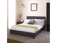 🚚🚛 SAME DAY FAST DELIVERY🚚🚛 BRAND NEW LEATHER DOUBLE BED FRAME WITH WHITE ORTHOPEDIC MATTRESS