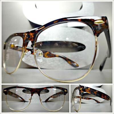 Men's CLASSIC VINTAGE 80s RETRO Style Clear Lens EYE GLASSES Tortoise Gold -