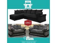 📀New 2 Seater £229 3 Dino £249 3+2 £399 Corner Sofa £399-Brand Faux Leather & Jumbo CordᎰB6