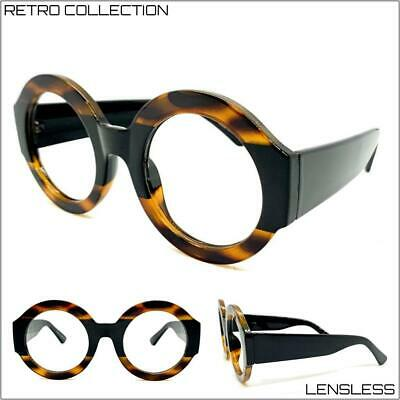 OVERSIZED EXAGGERATED RETRO Lensless Eye Glasses Large Round Frame Only NO (Large Round Glasses Frames)