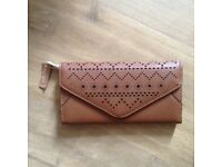 Brown faux-leather purse
