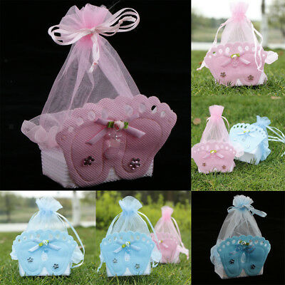 - 12 Pieces Baby Footprint Gift Box Girl Boy Baby Shower Birthday Candy Bags Favor