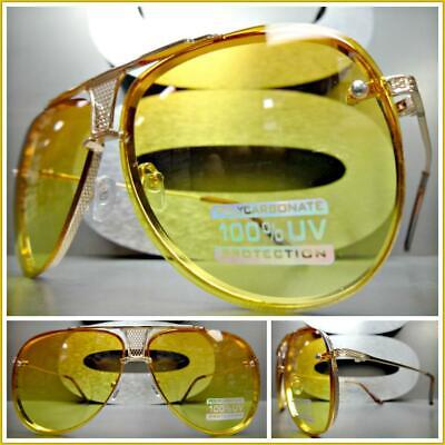 Mens Women CLASSIC VINTAGE RETRO Style SUN GLASSES Gold Frame Orange Yellow (Gold Glasses For Women)