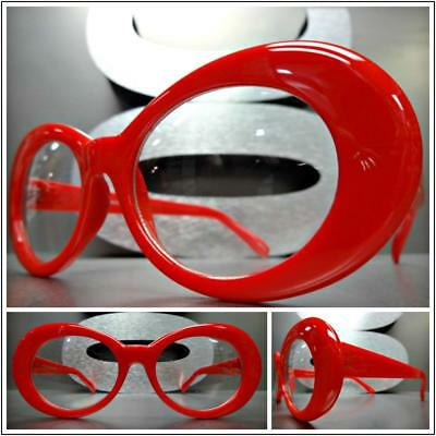 Men's or Women VINTAGE RETRO Style Clear Lens Eye Glasses Red Oval Fashion Frame](Red Glasses Frames)