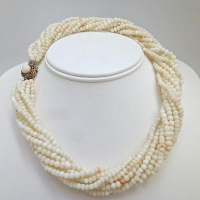 (Vintage Italian Multistrand Angel Skin Coral Torsade Necklace)