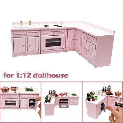 4pc Dollhouse Miniature Kitchen Stove Sink Corner Cabinet Cupboard set 1:12 Pink Corner Sink Cabinet