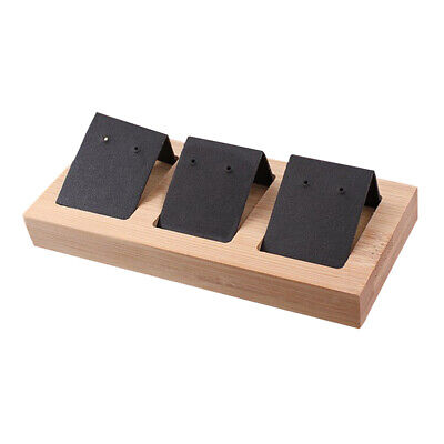 3pcs Jewelry Holder Earrings Display Paper Cards DIY with Wooden Tray