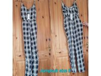 Ladies black white check jumpsuit
