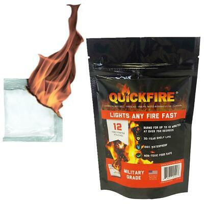 QuickFire Instant Fire Starter 12 PACK #1 Camping and Charcoal BBQ Fire Starter Fire Starters Camping