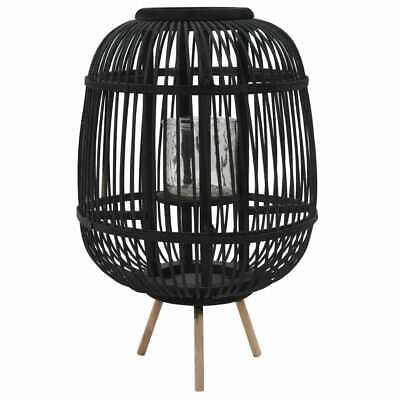 vidaXL Portavelas de Pie Bambú Negro Fragancias Candelabro Decoración de Hogar