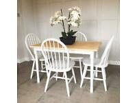 Solid Wood Rectangle Kitchen Table & 4 Chairs F&B Skimming Stone L122cm(4ft) D66cm Can Deliver
