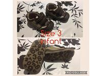 Bundle of infant sandals/shoes and boots sizes 3/4/4.5