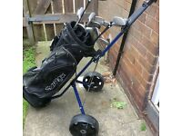 Slazenger golf clubs, bag and trolley.