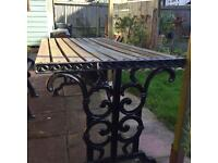 Cast Iron Table, Chairs and Bench