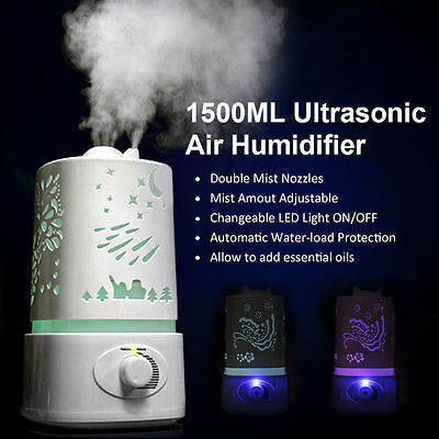 1.5L Ultrasonic Home Aroma Humidifier Air Diffuser Purifier Lonizer Atomizer LO