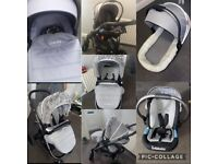 Infababy travel system, bought 4 £359 had it 1 year, can turn the pram round to face which ever way
