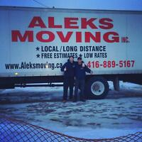 416-889-5167 --- ALEKS MOVING ---- FAMILY OWNED---FLAT RATES -