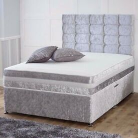 ☀️💚☀️AMAZING OFFER☀️💚☀️ CRUSH VELVET DOUBLE DIVAN BED + SEMI ORTHOPEDIC MATTRESS