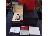 Complete Omega box set black orange rubber bracelet white face omega seamaster with chronograph stop