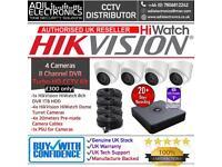 Hikvision 4 Cameras HiWatch Turbo-HD Full CCTV Kit: 8CH 1TB HDD DVR & 4x HD 1080P 2MP Dome Camera