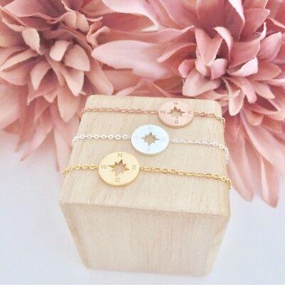 Armband Armbänder Kompass Rund Kreis Gold Silber Rosegold Kette Edelstahl Boho