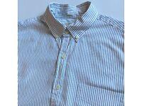 NEW J.CREW J CREW WHITE THIN STRIPED L/S OXFORD SHIRT - S