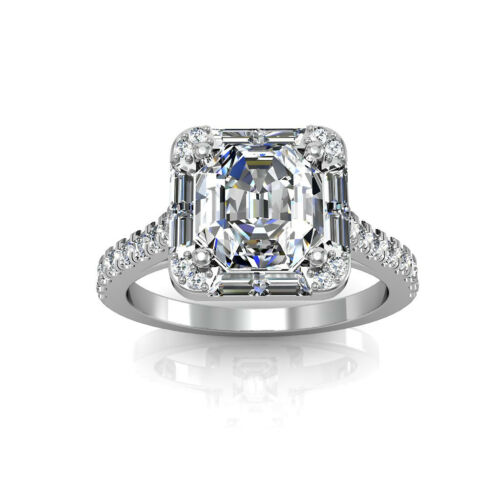 18k Gold Asscher Cut Diamond Engagement Ring 3.50 Carat GIA Certified