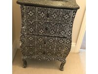 Black with silver overlay chest of drawers