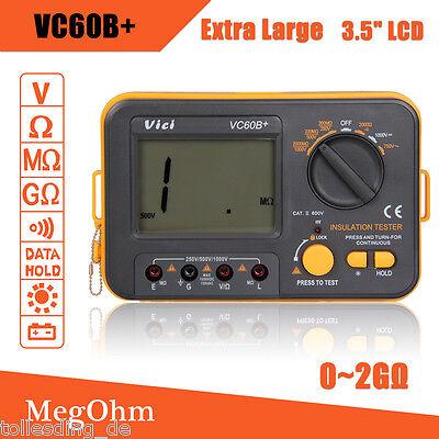 VC60B+ Digital Insulation Tester Megger MegOhm Meter DC250V/500V/1000V 2000 MΩ