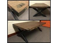 Coffee table/tv stand/industrial/Reclaimed/rustic/Furniture/powder coated