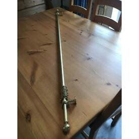 Polished brass/gold curtain pole & rings etc