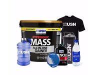 USN Hyperbolic Mass 6k Free USN Muscle Matrix + Water Jug + Bottle +Tshirt+Ball