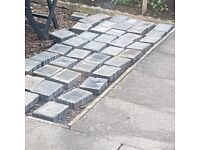 Grey Slabs Bricks Patio Pave stone edging edgeblocks driveway concrete rubble wall uni Cabin desk