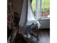 Stunning white and grey Moses basket with white drape