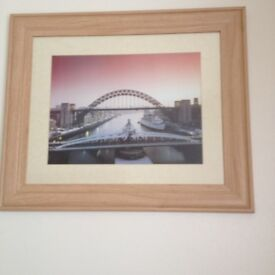 2 PICTURES MATCHING FRAMES-TYNE BRIDGE/SWING BRIDGE AND MILLENIUM BRIDGE