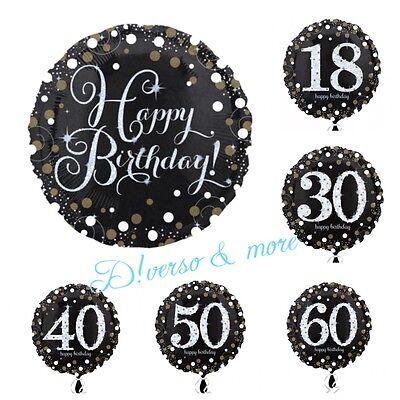 Happy Birthday  Folienballons Geburtstag schwarz gold Zahl 18 30 40 50 60 100  (Happy 18 Birthday)